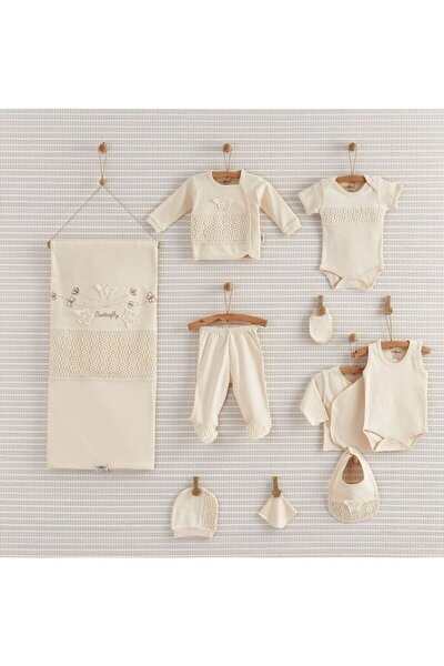 Kız Bebek Ekru Butterfly Organik 10'lu Hastane Çıkışı 19-052