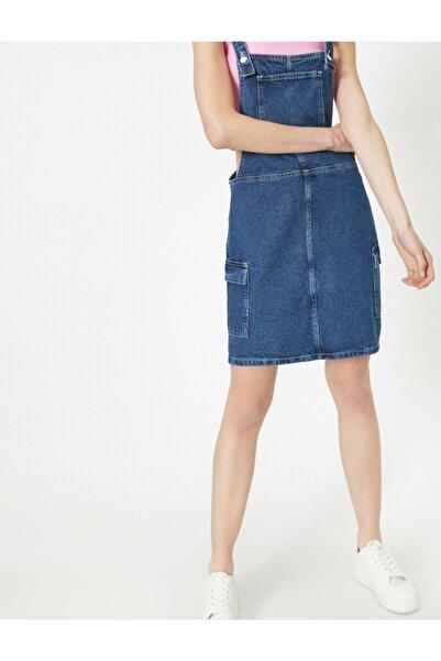 Kadın Mavi Cep Detayli Kolsuz Midi Jean Elbise