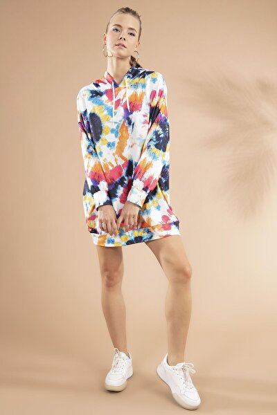 Kadın Batik Desenli Kapşonlu Sweatshirt Elbise Y20w110-4125-12
