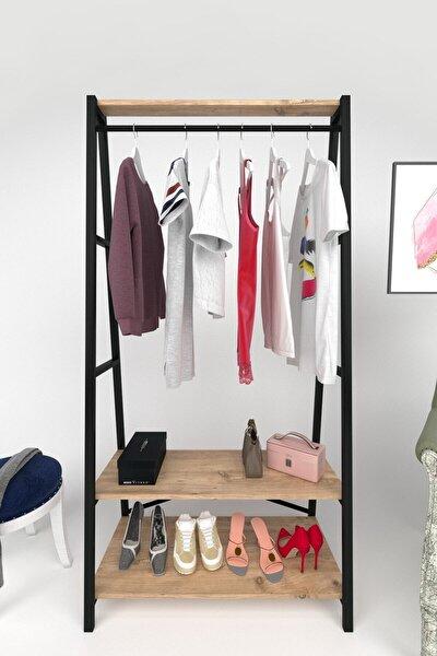 Ayaklı Askılık Metal Konfeksiyon Askısı Raflı Askılık Elbise Askısı
