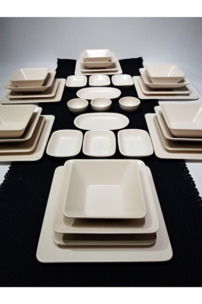 Kare 35 Parça 6 Kişilik Kahvaltı Yemek Takımı