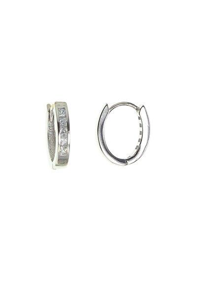 Kadın Gümüş Rengi Baget Taşlı Gümüş Küpe SGTL8694