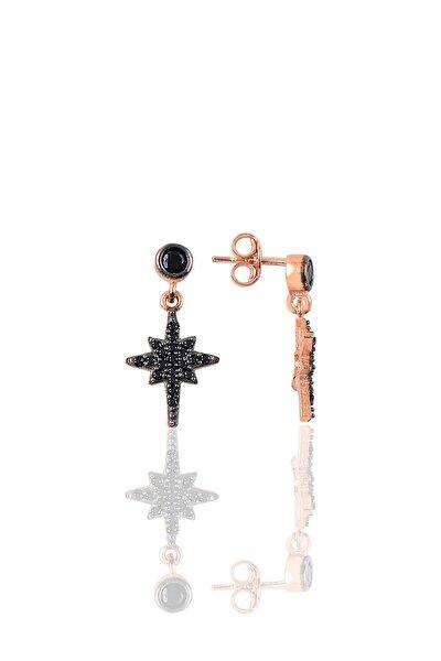 Gümüş Siyah Taşlı Kutup Yıldızı Modeli Küpe