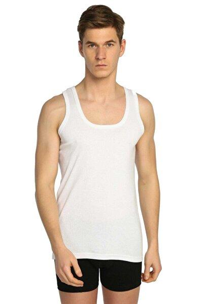 Erkek Beyaz  Ribana Likralı Atlet 3'lü Paket