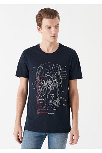 Erkek Kulaklık Baskılı Lacivert T-Shirt