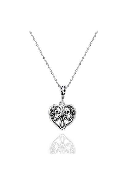 Kalpli & Çiçekli Model Taşsız Telkari Bayan Kolye
