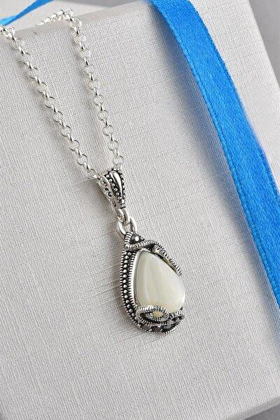 Otantik Sedefli Oval Model Zirkon Taşlı Rose Gümüş Kolye