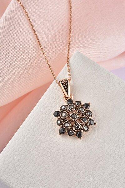 Otantik Yıldız Çiçek Model Markazit Taşlı Rose Gümüş Kolye