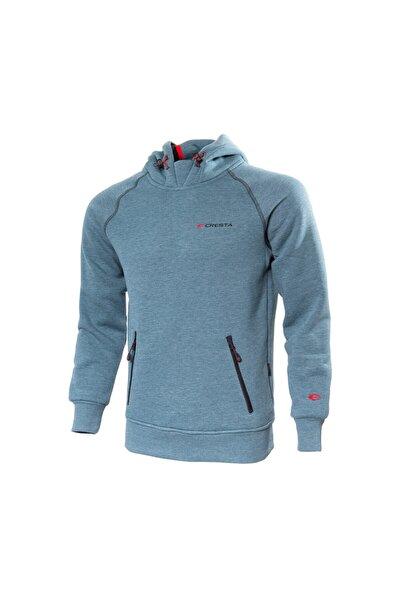 Erkek Mavi Outdoor Kapüşonlu Sweatshirt