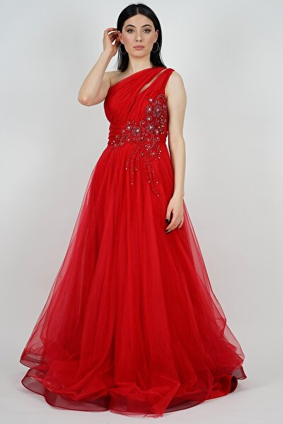 Kadın Kırmızı Taş İşlemeli Tek Omuz Abiye Elbise