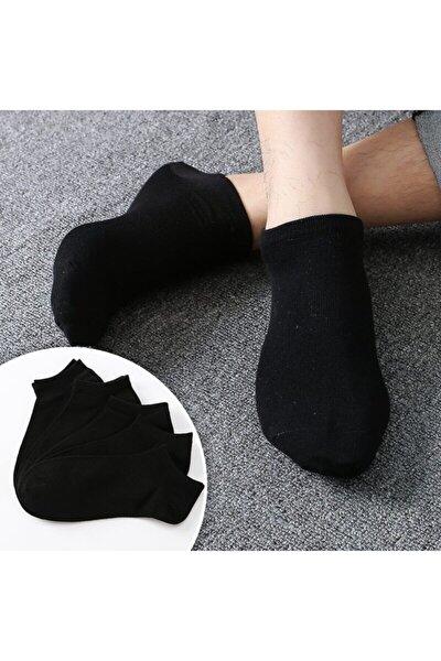 Emre 5 Çift Bambu Dikişsiz Siyah Erkek Patik Çorap Bilek Boy