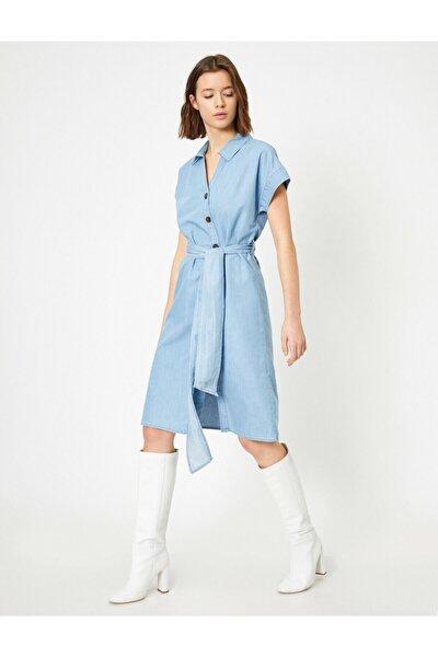 Kadın Mavi Düğme Detayli Elbise