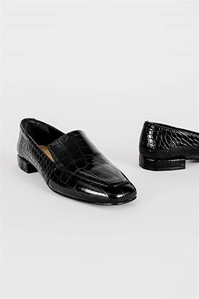 Erkek Siyah Croco Deri Loafer Ayakkabı
