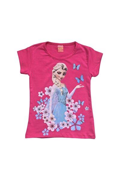 Kız Çocuk Fuşya Rengi Rudi Frozen Elsa Baskılı  Tişört