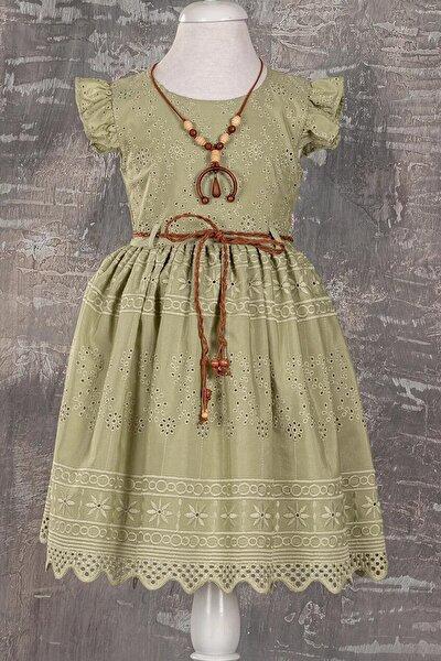Fisto Kumaş Kolyeli Kız Çocuk Elbisesi