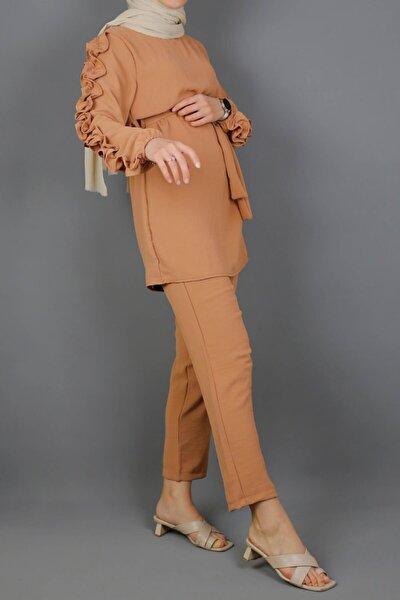 Kolu Fırfırlı Aurobin Krep Takım-somon