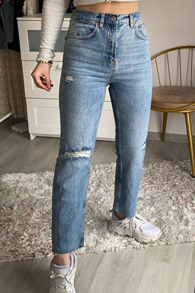 Barbara Kot Renk Kesik Paça Straight Jeans