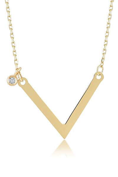 Kadın Altın Diamond Sade Pırlantalı V Kolye