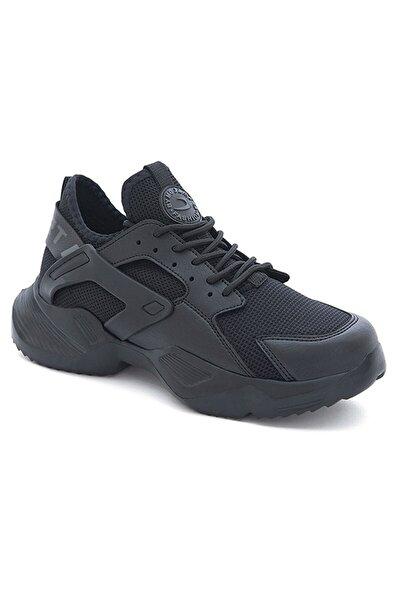 Kalın Taban Erkek Siyah Sneaker Ayakkabı