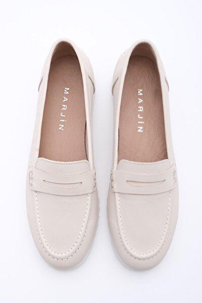 Kadın Bej Hakiki Deri Klasik Ayakkabı