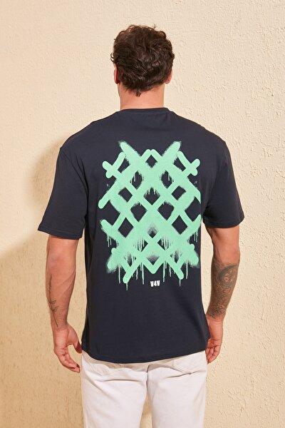 Lacivert Erkek Sırt Baskılı Geniş Kesim T-Shirt TMNSS20TS1036