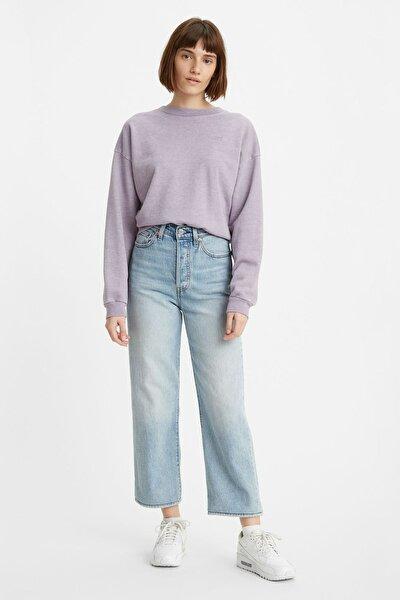 Kadın Açık Mavi Yüksek Bel Ribcage Straight Jean
