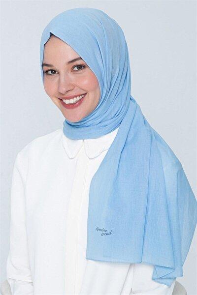 Kadın Trend Pamuk Şal - Bebe Mavisi