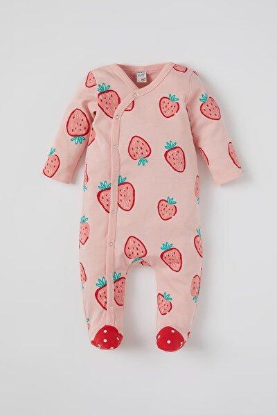 Kız Bebek Çilek Desenli Uzun Kol Patikli Tulum