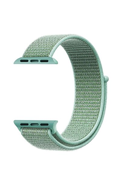 Apple Watch Dokuma Kordon Kayış 7 - 6 - Se - 5 - 4 - 3 - 2 - 1 42mm 44mm - Deniz Yeşili