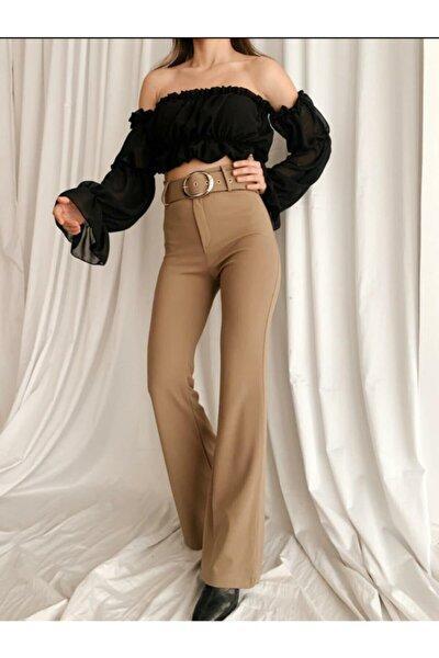 Kadın Kahverengi Dokuma Krep Kumaş Yüksek Bel Bol Paça Kemerli İspanyol Paça Pantolon