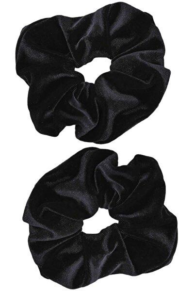 Trendyıldızı 2 ' Li Kadife Siyah Lastik Toka