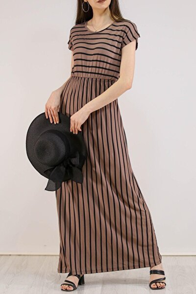 Kadın Vizon Siyah Çizgili Sıfır Yarasa Kol Belden Büzgülü Uzun Elbise
