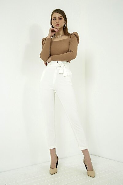 Kadın Ekru Kuşaklı Yüksek Bel Pantolon