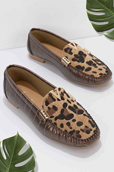 Bakır Leopar Kroko Kadın Loafer K01542030411
