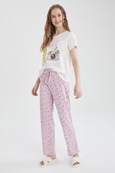 Kadın Mor Relax Fit Baskılı Kısa Kollu Pijama Takımı