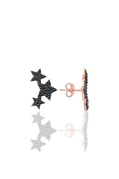 Gümüş Siyah Taşlı Yıldızlar Küpesi