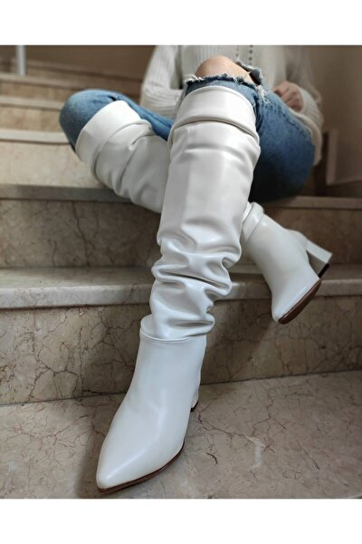 Kadın Beyaz Lubin Diz Üstü Çizme 2001