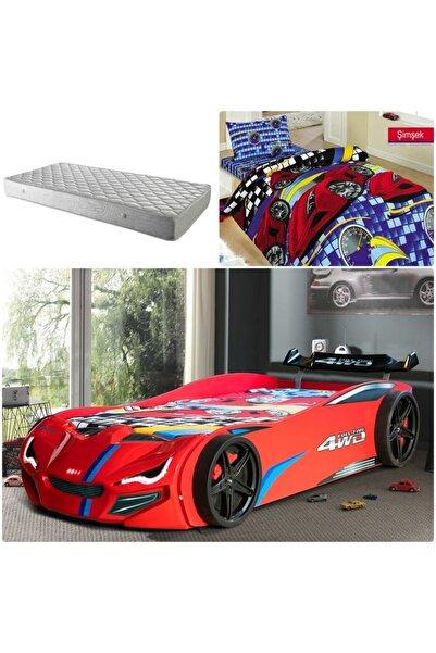Merso Eko Rüzgarlıklı Arabalı Yatak Kırmızı + Ortopedik Yatak + Nevresim