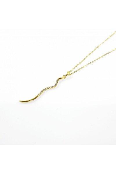 Yılan Tasarımlı Altın Renkli Zirkon Taşlı Zincirli Kolye