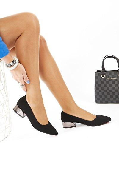 Siyah Nubuk Topuklu Ayakkabı 3.5 Cm
