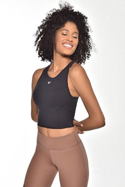 Kadın Siyah Destekli Sporcu Crop Bra Gw-9209