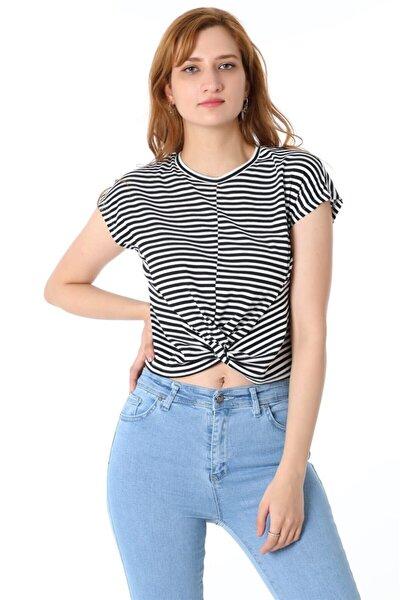 Kadın Siyah Önden Düğümlü Çizgili T-shirt