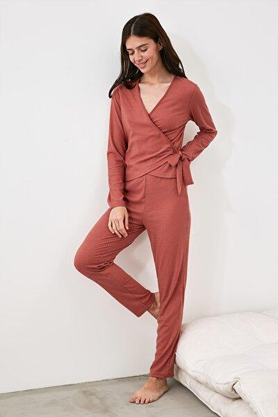 Gül Kurusu Kruvaze Örme Pijama Takımı THMAW21PT0825