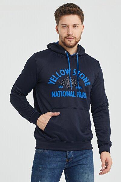 Erkek Lacivert Kapüşonlu Kanguru Cepli Içi Polarlı Sweatshirt