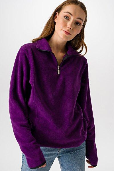 Kadın Mor Polar Sweatshirt 25974