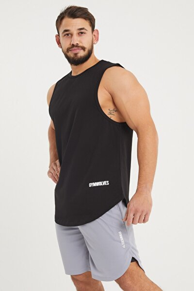 Erkek Kolsuz T-shirt | Siyah | Erkek Spor T-shirt | Workout Tanktop |