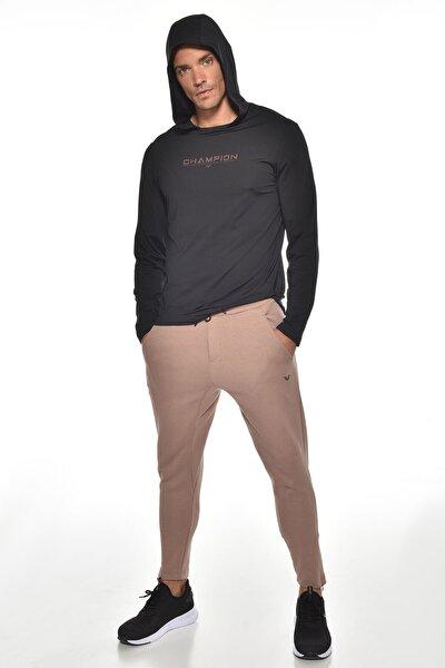 Erkek Siyah Kapüşonlu Ince Yumuşak Dokulu Uzun Kol T-shırt Gw-9233