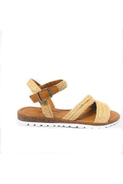 Kadın Sarı Hasır Sandalet