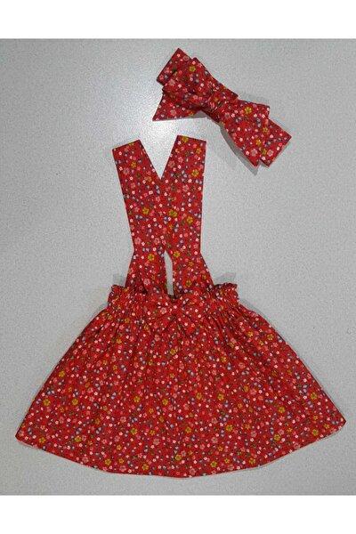 Kız Çocuk Kırmızı Bandana Slopet Çıtır Çiçek Elbise