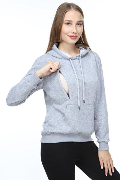 Kadın Gri Pamuklu Emzirme Özellikli Sweatshirt